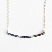 Golden Curved Black Diamond Necklace
