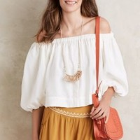 Whit Off-The-Shoulder Midi Top in White Size: