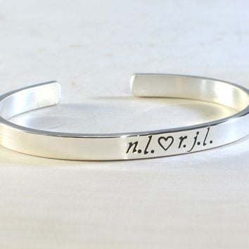 Silver Initials or Name Bracelet Personalized in Solid 925 Sterling Silver or Bronze
