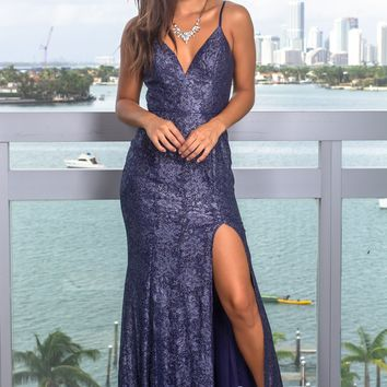 Navy Shimmer Maxi Dress with Side Slit