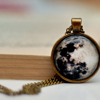 Full Moon Necklace, Resin Pendant, Antiqued Brass Chain Necklace, Glass Dome Necklace