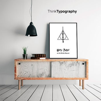 Harry Potter and the Deathly Hallows, Minimalist Poster, Black and White, Harry Potter Print, Movie Poster
