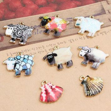 12pcs/lot Cute Cartoon Sheep Metal Charms Lamb & Sea Shell Oil Drop Charms Animal Jewelry Charms For Keychain Pendant Diy