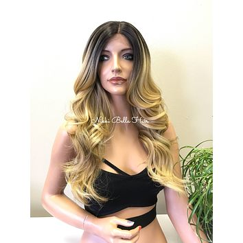 Blonde Balayage Curls and Middle Part Natural Handtied Lace Front Parting (UPart) Wig - Ramona
