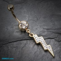 Golden Lightning Bolt Belly Button Ring