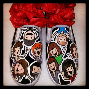Custom Of Mice and Men & Sleeping With Sirens slip ons