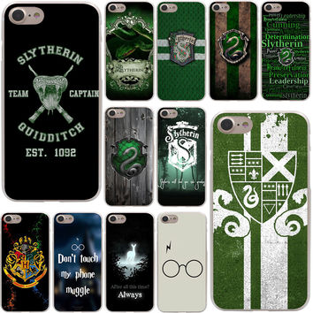 Harry Potter Slytherin School Crest Hard Case Transparent for iPhone 7 7 Plus 6 6s Plus 5 5S SE 5C 4 4S