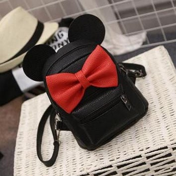 2017 new Baby girls kids backpack Cartoon cute butterfly knot Minnie backpack princess Mini Bag bow mouse ears black pink gray
