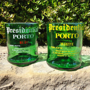 RARE Recycled Presidential Porto Rocks Glasses made from Ruby & White Port Wine bottles Set of 2