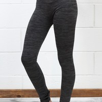 Body Shaping Fleece Lined Leggings {Heather Black}