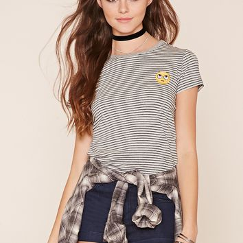 Striped Emoji Patch Tee