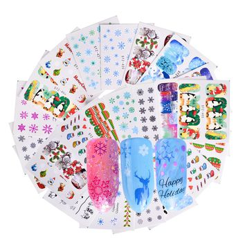 48Sheets Christmas Mixed Decals Nail Art Stickers Water Transfer Nail Tips Stickers Beauty Manicure Tips Decoration LASTZ388-436