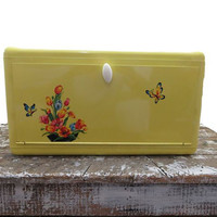Vintage Breadbox Bread Yellow Bread Box with Butterflies and Flowers Vintage Kitchen