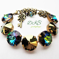 Swarovski Mega Statement Bracelet, 18mm, Matte Bronze, Green Sphinx, Iridescent Green DKSJewelrydesigns, FREE SHIPPING