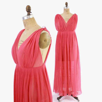 Vintage 50s Pleated NIGHTGOWN / 1950s Vanity Fair Bright Pink Grecian Goddess Maxi Dress S
