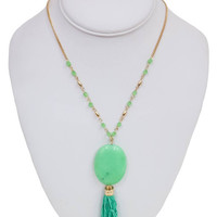 Precious Stone Tassel Necklace in Green | MACA Boutique