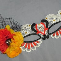 Day of the Dead White Soft Lace Mask with Red and Yellow Accents and Pewter Skull
