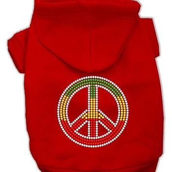 Rasta Peace Sign Hoodie Red XXL (18)