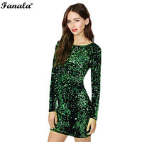 Sequin Dress Women 2017 Special Occasion Bodycon Dress Party Sequined Dresses Long Sleeve Mini Dress Green Vestidos