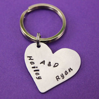 Personalized Keychain - Hand Cut Stamped Heart Key Ring
