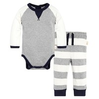 Baby Boy Burt's Bees Baby Organic Coloblock Bodysuit & Striped Pants Set | null