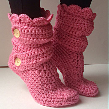 Women's Crochet Pink Slipper Boots, Crochet Slippers, Crochet Booties, Crochet House Shoes, Crochet Winter Boots, Rose Slipper Boots