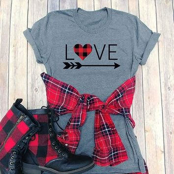 Woman's LOVE Arrow Plaid Heart Valentines Day T-Shirt