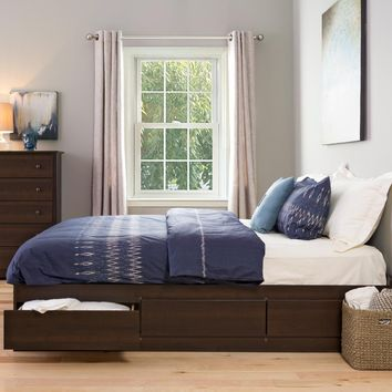 Espresso King Mate?s Platform Storage Bed with 6 Drawers