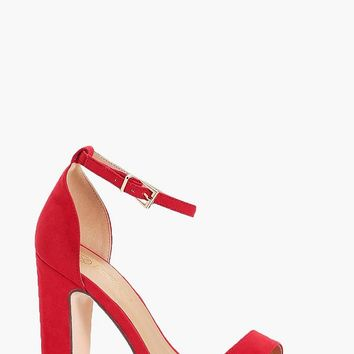 Amy Wide Fit Platform 2 Part Heels | Boohoo