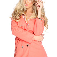 Coral Double Breasted Waist Tie Coat