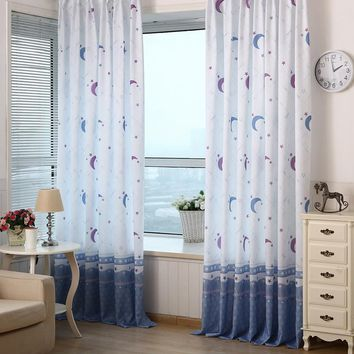 2016 100*200cm New Xmas Qualified Country Style Decor  Pastoral  Moon Print Sheer Window Curtains For Living Room Bedroom