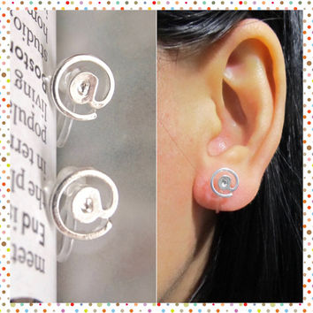 Small @ Sign Clip on Earring, IT At Symbol Non Pierced earring, C43s, Silver invisible clip on stud earring, better than magnetic earring