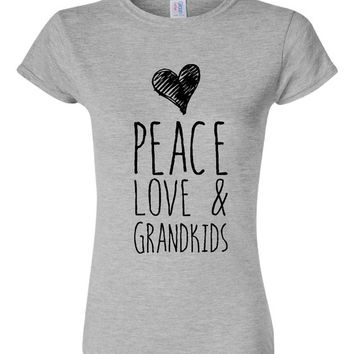 Peace Love And Grandkids T Shirt Womens Unisex Grandkid t shirt great gift for grandparents, grandma Mimi Nana T Shirt