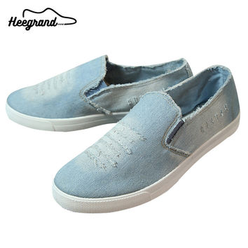 Men Washing Denim Canvas Men Causal Style 2016 Hot Sale Flat-with Slip-on Men's Fashion Breathable Canvas Shoes XMR1659