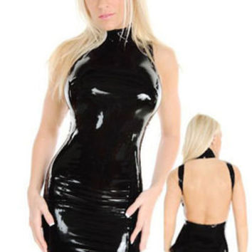 Fashion Leather Black Slim Fit Backless Package Hip One Piece Dress _ 2836