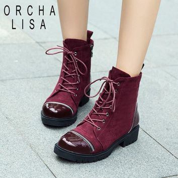 ORCHA LISA Black Wine Red Patent Leather Suede Rock Punk Lacing Ankle Motorcycle Military Boots Women Lady Chunky Heel bota C807