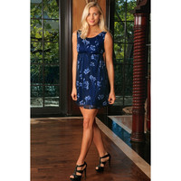 Navy Blue Floral Empire Waist Sleeveless Evening Party Dress - Women