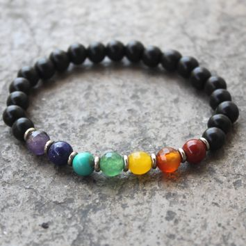 Ebony and Chakra Gemstone Mala Bracelet