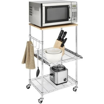 Metal Microwave Kitchen Cart With Adjustable Shelves & Locking Wheels