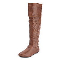 Thigh-High Pleather Flat Boot: Charlotte Russe