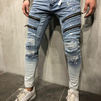 Mens Ombre Tapered Ankle Jeans