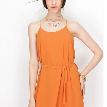 Spaghetti Strap Drawstring Chiffon Mini Dress