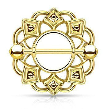 Luxurious Tribal Shield Nipple Ring  (1 Pair)
