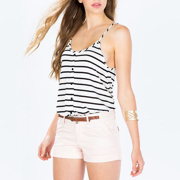 Striped Spaghetti Strap Button Top