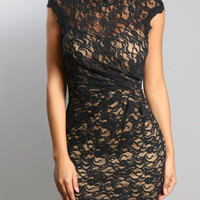 Short Orient Cocktail Dress with Black Lace over Nude