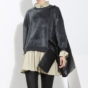 Women Fashion Thickened Velvet Ruffle False Two-Piece Loose Show Thin Long Sleeve Pullover Sweater Tops