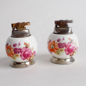 Vintage Porcelain Table Lighter Japan 1960's YOUR CHOICE