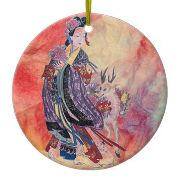 Pink Marble Ceramic Two Sided Christmas Ornament