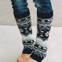 Winter Magic Black & White Leg Warmers