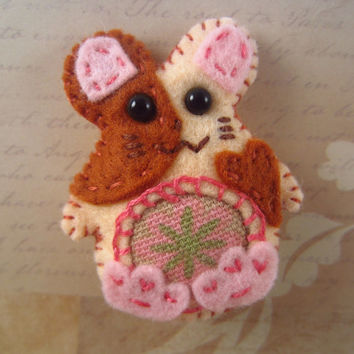 Hamster Hair Clip, Barrette, Headband Accessory, Felt Hand Stitched, Duck Fabric Belly